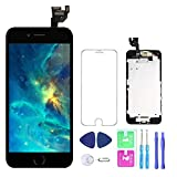 Screen Replacement for iPhone 6 4.7''Full Assembly LCD Display Touch Digitizer with【Front Camera】【Home Button】【Proximity Sensor】【Earpiece Speaker】 Screen Protector, Repair Tools (Black)