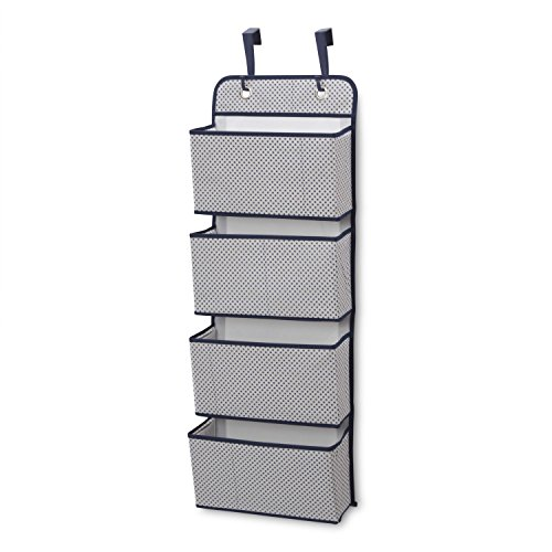 Delta Children 4 Pocket Over The Door Hanging Organizer, Easy Storage/Organization Solution - Versatile and Accessible in Any Room in the House, Navy