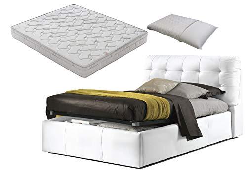 Cama de plaza y media con caja de almacenamiento blanco Elegant + colchón de plaza y media 120 x 190 cm con memoria de espuma + par de almohadas de fibra 3D