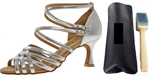 Diamant 108-087-013 Damen Tanzschuhe INKL. MC-Tanz Aufrauhbürste, Silber, 38 EU