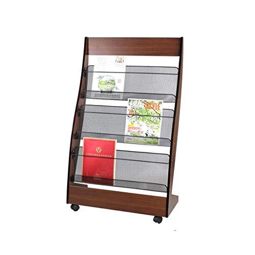 ZBM-ZBM Houten Magazine Rack, Krant Rek met Casters, Vloeren 3 Verdiepingen Floor Informatie Display Rack, Verticale Boekenplank -Mode Ideeën (Kleur: Walnut) Multi-Layer Advertising Rack
