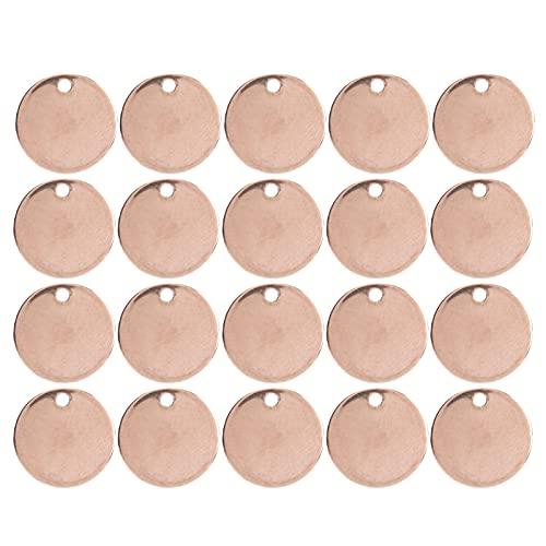 Etiqueta redonda de acero inoxidable, colgante redondo fuerte y de bricolaje conveniente y práctico para uso doméstico y profesional Q para la mayoría de las personas(Round-rose gold, 12mm 20 pcs)