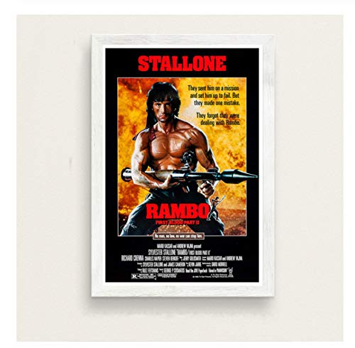 chuangyue First Blood Classic Movie Serie Sylvester Stallone Rambo Kunst Malerei Seide Leinwand Poster Wand Home Decor24X36 Zoll Kein Rahmen