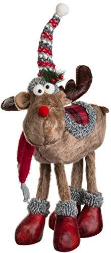 Brandsseller Weihnachts Elch Figur Rentier Stehend ca. 50 cm Braun/Rot/Grau