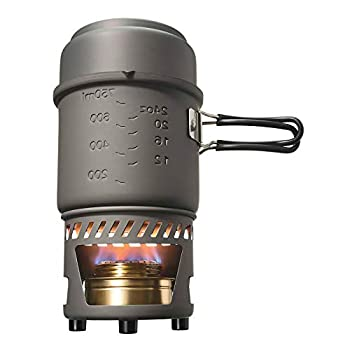 Esbit CS985HA 5-Piece Lightweight Trekking Cook Set with Brass Alcohol Burner Stove and 2 Anodized Aluminum Pots Grey 985ml