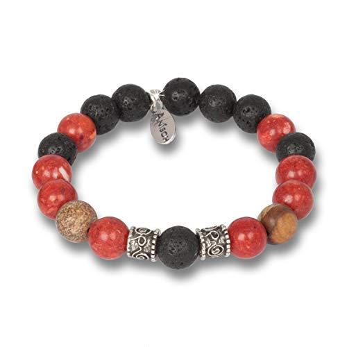 Anisch de la Cara Bracciale da uomo Hakuna Matata Beads Lava Coral Jasper – 10 mm perle