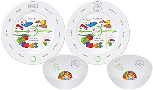 Bariatric Surgery Bowls + 8 inch Plates - Melamine Twin Set Protects Stomach Pouch Size for Calorie Controlled Weight Loss, by Portion Perfection for Post Sleeve Gastrectomy, Gastric Bypass & Banding