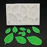 GJEFEGS 3D Rose Leaves Silicona Accesorios de Cocina Molde de Pastel Galletas de Caramelo Herramientas de Chocolate Fondant Suministros de decoración de Pasteles
