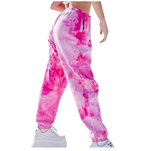 Pantalones Harem Hippie para Mujer, Pantalones de Pierna Recta con Estampado de teñido Anudado para Mujer de Moda, Pantalones Casuales de Hip Hop