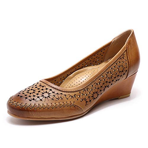 Mona flying Women s Leather Wedges Pumps Dress Shoes Med Heel Round Toe Formal Office Shoes for Women Ladies Hollow Out