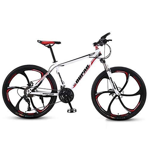 JLFSDB Mountain Bike,26 Inch Men/Women Wheels Bicycles,Front Suspension Dual Disc Brake,Carbon Steel Frame,21/24/27 Speeds (Color : Red+White, Size : 27-Speed)