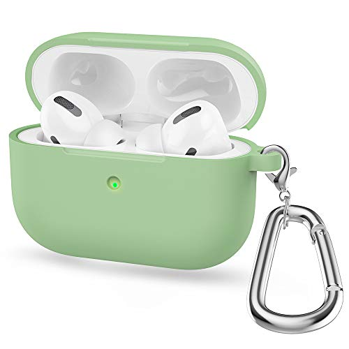 Shazikaihui Hülle Kompatibel mit AirPods Pro Hülle Stoßfeste Silikon Case Schutzhülle [Front-LED Sichtbar] mit Karabiner Kompatibel mit Apple AirPods Pro (4)
