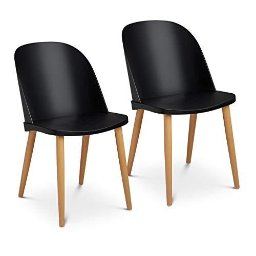 Fromm & Starck Star_SEAT_11 Stuhl 2er Set bis 150 kg Sitzfläche 43,5 x 43 cm schwarz Lehne transparent Kunststoffstuhl Stuhlbeine Metall
