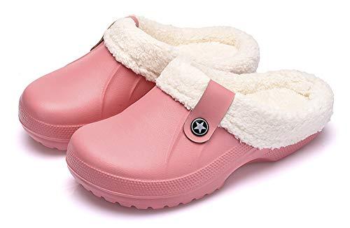 Epsion Sandalias con forro polar para mujer, cómodas, antideslizantes, para jardín, zuecos, mulas, rosa (rosa ( B - Pink )), 36.5/37 EU