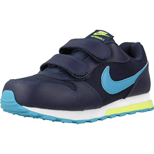 Nike Unisex-Kinder MD Runner 2 (PSV) Sneaker, Blau (Midnight Navy/Laser Blue-Lemon 415), 28.5 EU