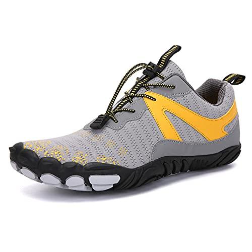 Y-PLAND Par de zapatos de cinco dedos al aire libre, zapatos de senderismo para hombres, zapatos de senderismo transpirables, zapatos de escalada de roca de los hombres - Gray_Eu37