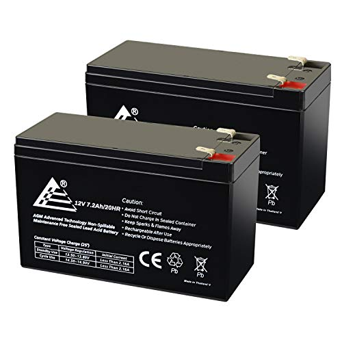 ExpertPower 12V 7.2AH Sealed Lead Acid (SLA) Rechargeable Battery for Security Alarm System With F2 Terminals || EXP1272 || 2 Pack