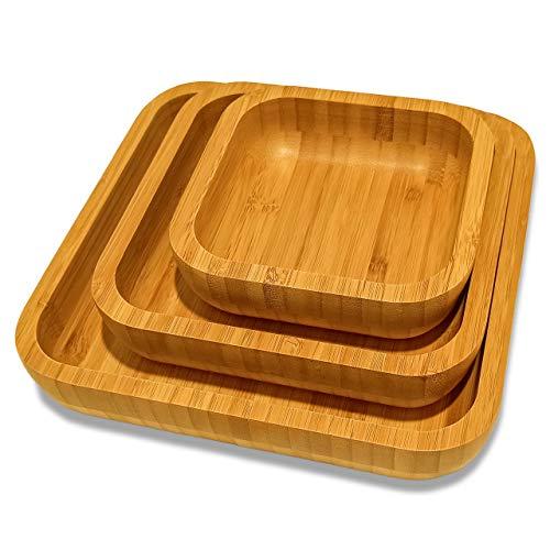 Set di 3 ciotole quadrate in legno di bambù di diverse misure 14 cm, 18 cm e 22 cm. Eleganti ed ecologici per alimenti, amatoriali o decorativi.