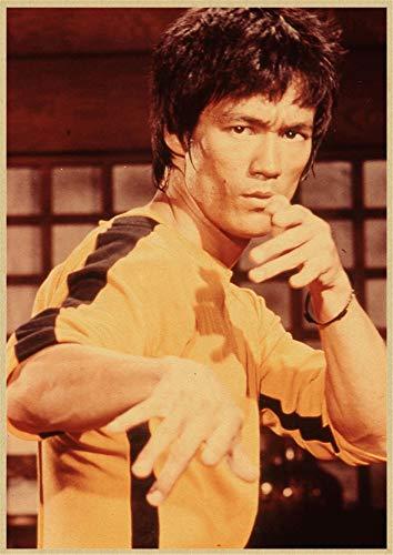 H/E Póster De Arte Retro De Película Clásica De Bruce Lee Jackie Chan, Mural De Decoración De Barra De Hogar Marco 50X70Cm G4729