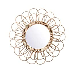 Abilieauty Miroir Suspendu Rotin, Miroir en Macramé De Tournesol Maison Salon Décoratif Miroir Mural Rond en Osier…