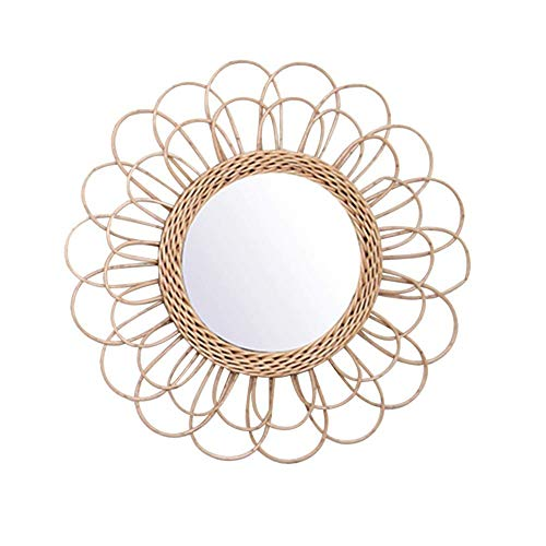 JIEHED Hanging Mirror Rattan Sunflower Circular Wall Mirror, Vintage Round Decor Boho Wicker Dressing Makeup Mirrors, Beautiful Light and Elegant For Home Office Living Room Hallway