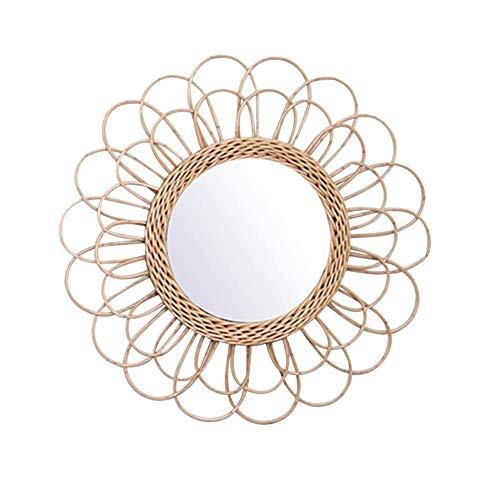 Gelentea - Espejo Colgante de ratán con Girasol, diseño de Girasol, decoración de Mimbre Boho, Espejos de Maquillaje para el hogar, Oficina, Sala de Estar, Pasillo
