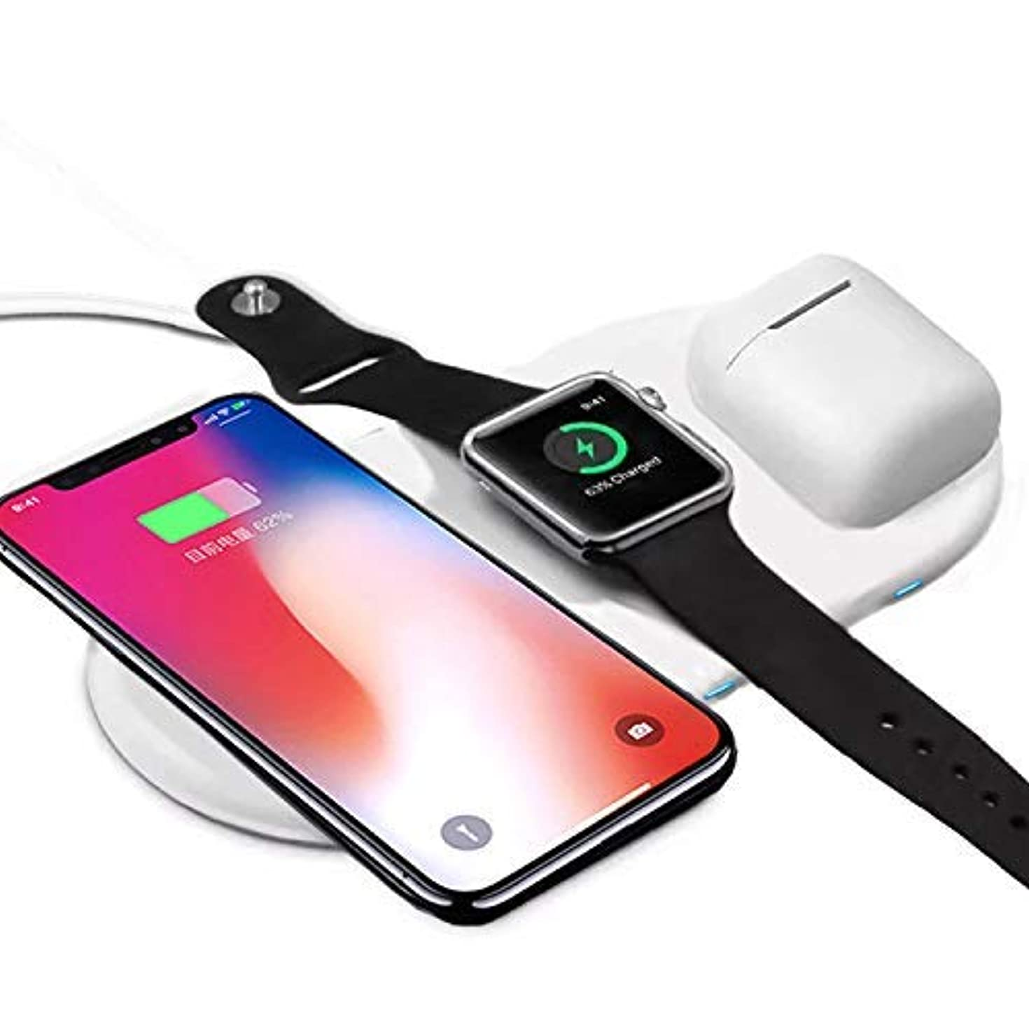Wireless Charger Pad,3 in 1 Qi Wireless Charger Holder for IWatch iPhone Airpods,Wireless Charger for IphoneX 8/8Plus/ Samsung S9/S8/Plus (3 in 1 Wireless Charger Pad Only)