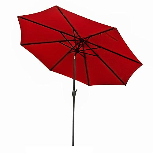 9ft Patio Umbrella Anti-UV Rain Polyester Waterproof Oxford Cloth Material Umbrella Anti-discoloration Outdoor Party Rest Essential Market Umbrella (Red)