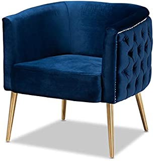 Baxton Studio Marcelle Navy Blue Velvet Accent Chair