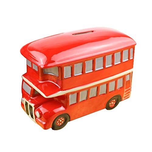 Banco De Dinero De Autobús De Cerámica, Regalo De Cumpleaños De Los Niños De La Hucha del Billete De Banco De La Moneda del Coche De Dos Pisos 0502C(Size:6.5 * 13 * 9.5cm)