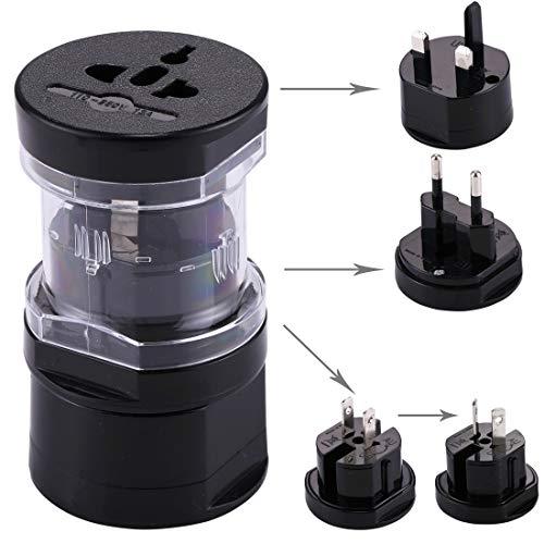 Enchufe zócalo LLD All en 1 EU + AU + UK + US Plug Travel Adaptador Universal Cargador USB del zócalo del Enchufe (Color : Black)