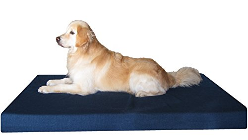 Dogbed4less XXL Orthopedic Memory Foam Dog Bed for Large Dogs, Durable Denim Cover, Waterproof Liner and Extra Pet Bed Cover, 55'X37'X4'