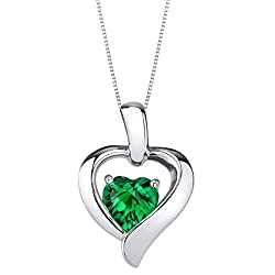 Sterling Silver Heart in Heart Pendant In Emerald Colored Stone