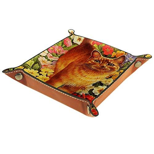 Caja de almacenamiento pequeña, bandeja de valet para hombre,Bienvenido Gatos naranja Flores de amapola ,Organizador de cuero para llaves de caja de monedas