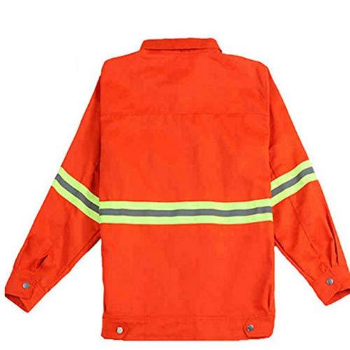SXZHSM reflectiekleding voor de veiligheid van Traffic kledingstukken met lange mouwen, rode ruggine gilet reflecterend
