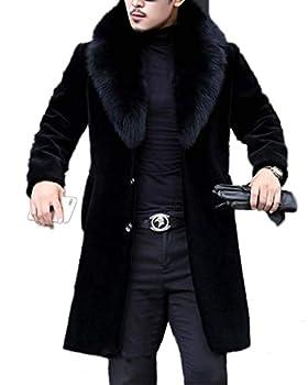 Tngan Long Faux Fur Coat Outwear Black Winter Parka Overcoat for Men Black B,L
