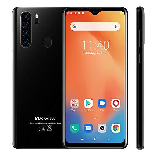 Blackview A80 Plus Smartphone ohne Vertrag, Android 10 Handy, 6,49 Zoll HD + Display, 4GB+64GB, 13MP+8MP Quad Kamera, 4680 mAh Akku, Dual SIM Smartphone 4G, GPS, Schwarz