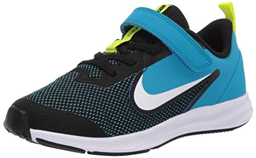 Nike Unisex-Child Downshifter 9 (PSV) Running Shoe, Black/White-Laser Blue-Lemon Venom, 35 EU