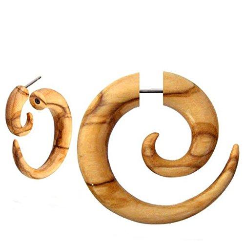 Piercing falso en espiral de acero inoxidable con cierre de rosca en forma de caracol de madera, unisex, unisex, 6 mm y 8 mm, acero quirúrgico, cierre de rosca, Madera,