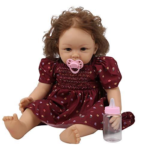 Reborn Baby, pelo artificial de 22 pulgadas viene con biberón, exquisita muñeca Reborn realista, colecciones de regalos de cumpleaños de vinilo, adultos para niños