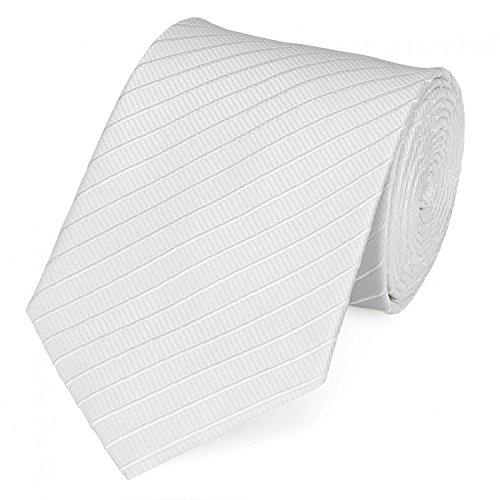 Fabio Farini - Elegante Herren Krawatte gemustert in 8cm Breite in verschiedenen Farben für jeden Anlass wie Hochzeit, Konfirmation, Abschlussball Gestreift Weiß Strukturiert