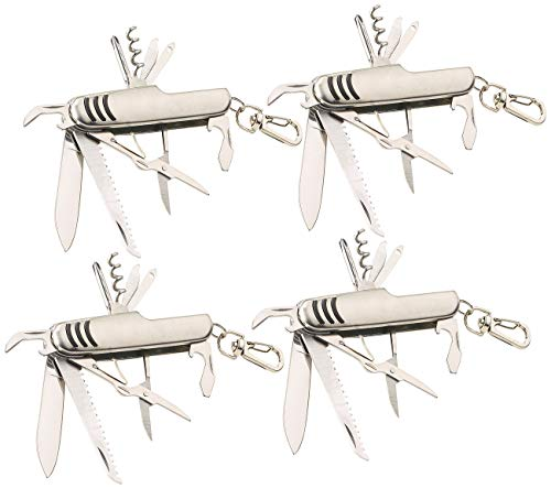 PEARL Reise-Messer: 4er-Set 11in1-Multifunktions-Taschenmesser aus Edelstahl (Offiziersmesser)