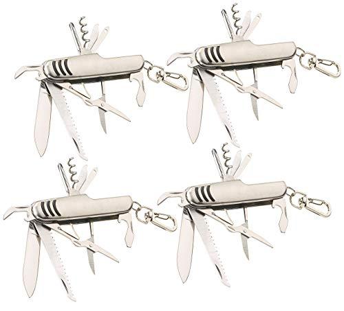 PEARL Camping-Messer: 4er-Set 11in1-Multifunktions-Taschenmesser aus Edelstahl (Offiziersmesser)