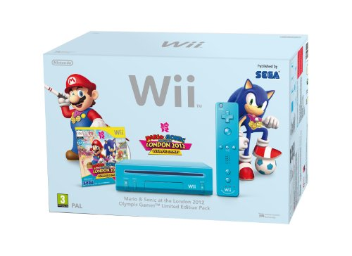 Nintendo Wii Console (Blue) with Mario and Sonic at the London 2012 Olympic Games (New Slim-Style) [Importación inglesa]