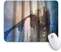 VAMIX マウスパッド 個性的 おしゃれ 柔軟 かわいい ゴム製裏面 ゲーミングマウスパッド PC ノートパソコン オフィス用 デスクマット 滑り止め 耐久性が良い おもしろいパターン (丘の上の古い古代の素晴らしい城中世の伝説的な王室の物語霧の霧の崖)