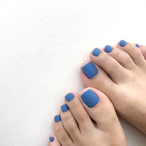 TseenYi Ongles faux orteils Bleu mat faux ongles orteils couleur unie mode carré court pleine couverture faux ongles orteils pour femmes et filles (24 pièces)