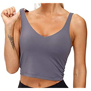 Women's Longline Sports Bra Wirefree Padded Medium Support Yoga Bras Gym Running Workout Tank Tops (Vintage Purple, Medium)