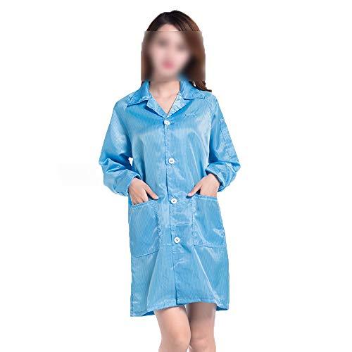Anti-Static Workwear Gown with Elastic Rits Elastische Boorden Herbruikbare Draagbare Dust Overall Isolatie Pak Voor Cleaning Service Schilderen Manufacturing (10 Pack),Blue,M