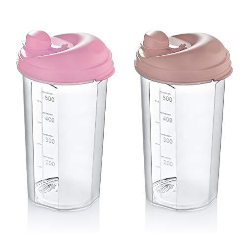 vendify 2 Stück Dressingshaker 500ml BPA Frei Salatdressing Shaker Messbecher mit tropffreiem Ausguss Schüttelbecher Dressing Kunststoff (Rosa Set)