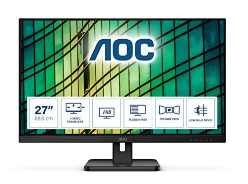 AOC 27E2QAE 68 cm (27 Zoll) Monitor (HDMI, DisplayPort, 4ms Reaktionszeit, 1920x1080, 75 Hertz, FreeSync) schwarz